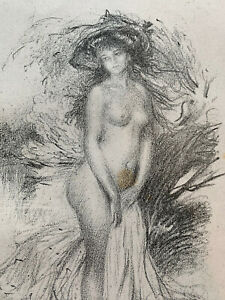 Abel faivre engraving lithograph study woman nude female baigneuse