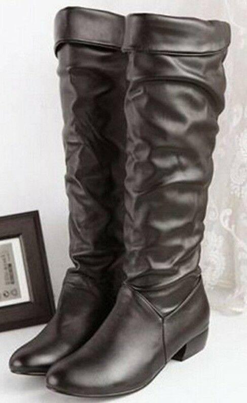 Knee High Brown Polyurethane Leather Look Fashion Boots. Size 8-Fits like 7.5