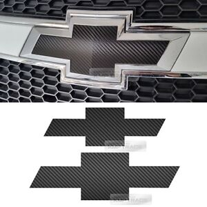 Front Rear Black Carbon Emblem Badge Decal Sticker For Chevrolet