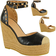 f67a637c021 item 2 Womens Ladies Stud Espadrille Wedge Summer Sandal Platform High Ankle  Strap Size -Womens Ladies Stud Espadrille Wedge Summer Sandal Platform High  ...