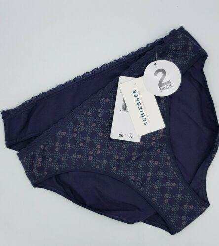 L 40 grau grey Flower Schiesser  Tai Brief Slip Pants  Schlüpfer Doppelpack  Gr