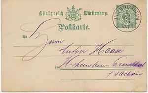 WURTTEMBERG-034-UNTERTURKHEIM-034-K1-a-5-Pf-grun-Pra-GA-Postkarte-n-Sachsen-1893