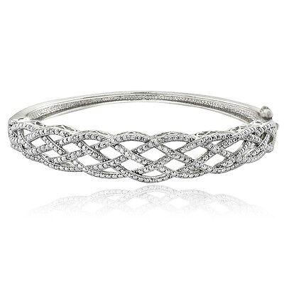 1/4 Ct Diamond Weave Bangle Bracelet