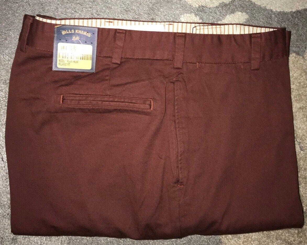 BRAND NEW-Bills khakis M1-COR5 Size 44 MAROON VINTAGE TWILL PLAIN