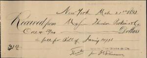 1893 New York (NY) Receipt 15,16,& 17 CHATHAM SQUARE,NEW YORK