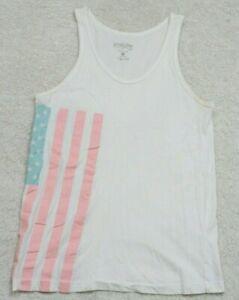 Tank-Top-Tee-T-Shirt-Sleeveless-Size-Small-Pop-Killer-Cotton-Woman-039-s-White-Flag