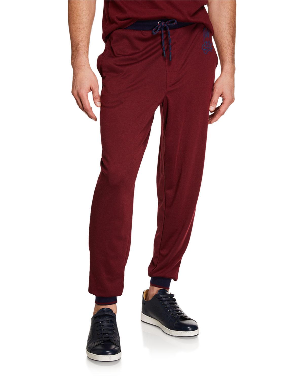 Psycho Bunny Men's Port Red Summit Knit Jogger Pants