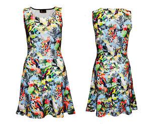Cute-Exotic-Tropical-Birds-Parrots-Hawaii-Print-Sleeveless-Skater-Flared-Dress