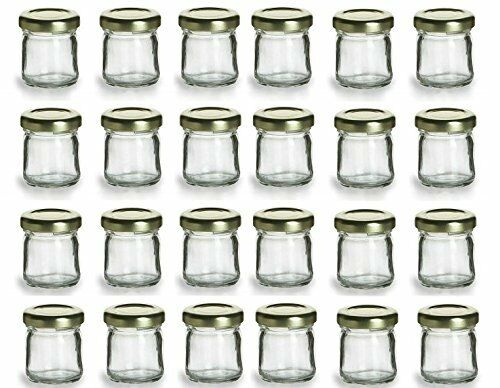 Premiumvials 24 Pcs 1 Oz Mini Glass Honey Jars Jam Wedding Favors