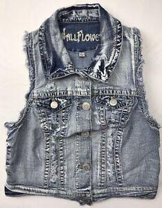 Wallflower Women's Juniors Destroyed Distressed Denim Jean Vest Size Medium M