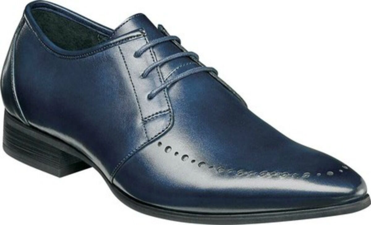 New Stacy Adams Mens Vander Lace Up Oxford Ink bluee Leather Dress shoes 25109-403