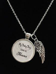 Details about Guardian Angel Baby Boy Son Heaven Wing Child Passed Away  Quote Memory Necklace