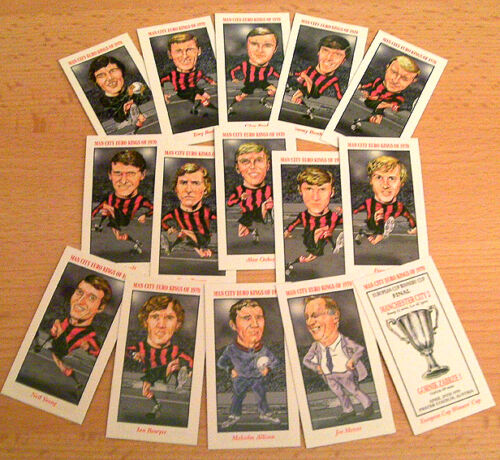 MANCHESTER CITY FC ECWC 1970 ILLUSTRATED COLLECTABLE CARD SET