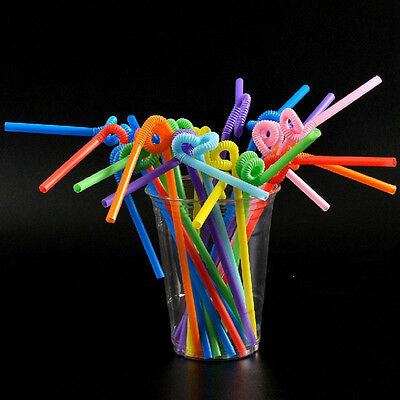 100pcs Multi-Color Disposable Cocktail Smoothie Bendy Drink Drinking Straw Party