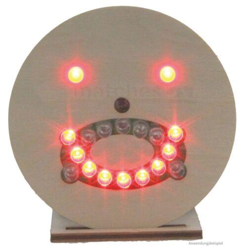 Löt-Bausatz vorgefertigt für Kinder ab 8 Jahren Smiley Gesicht mit LEDs Holz