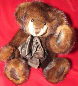 14-034-REAL-FUR-DARK-BROWN-MINK-SOOO-SOFT-ADORABLE-ARTIST-TEDDY-BEAR-BEAUTIFUL-GIFT