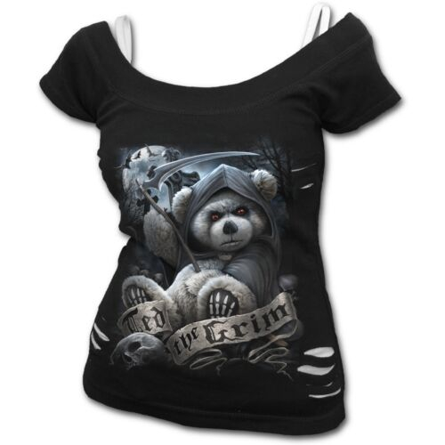 SPIRAL DIRECT TED THE GRIM TEDDY BEAR 2in1 Ripped//Goth//Cute Reaper bear//Top