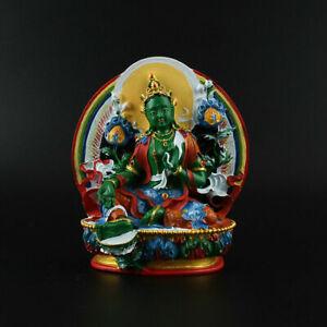 11-5CM-Tibetan-Buddhism-Resin-Hand-Drawing-Kwan-yin-Green-Tara-Pingan-Statue