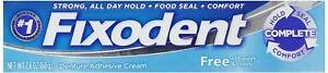 Fixodent Dentures Adhesive Cream Free  2.4 Oz,