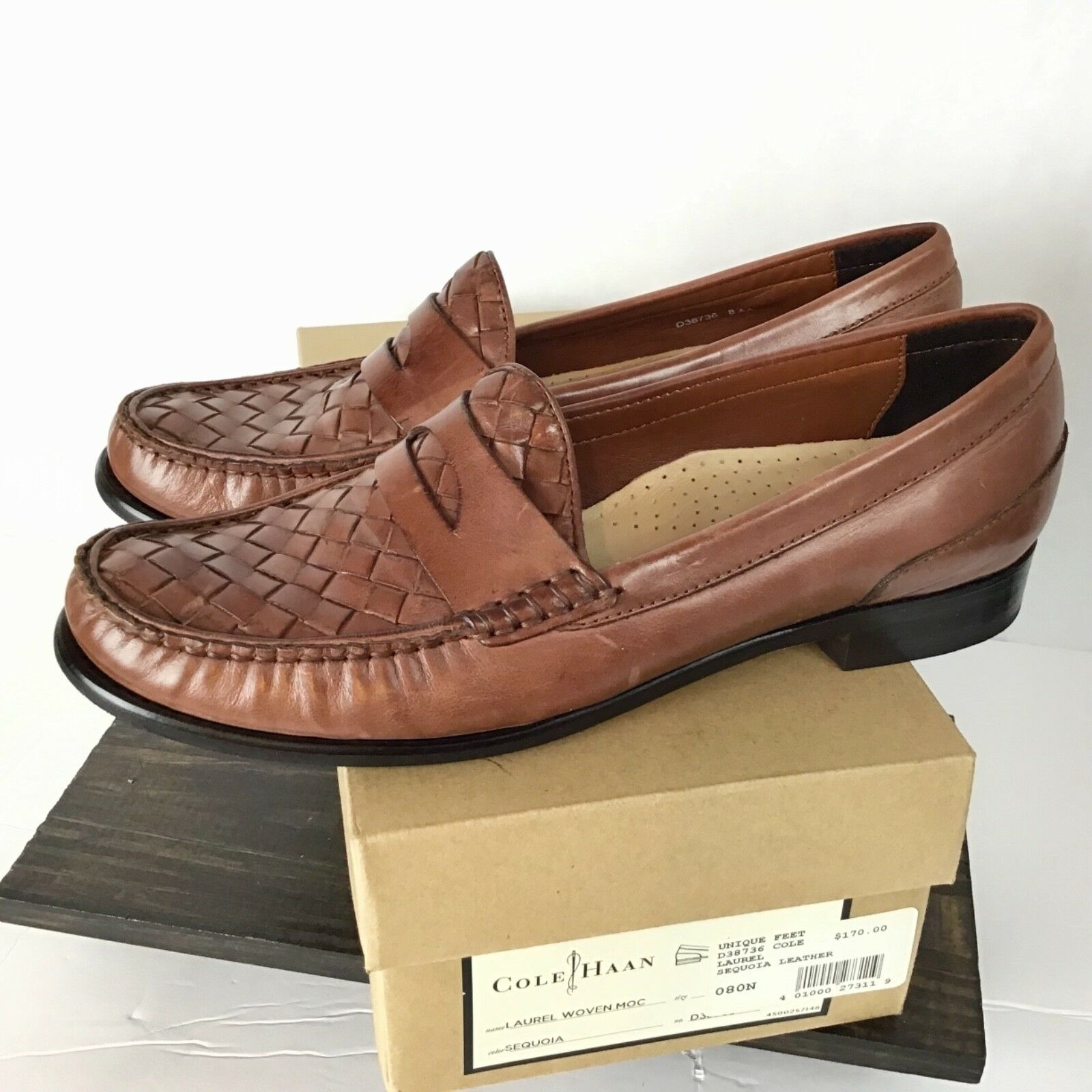Cole Haan Womens Size 8 AA N Laurel Woven Moc Loafer shoes Brown Basket Weave