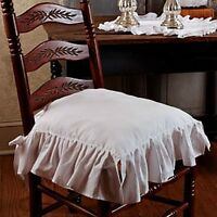 French Country Shabby Chic White Ruffled Chair Pad Cushion Seat Cover