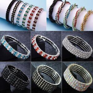 Fashion-Multilayer-Rhinestone-Crystal-Stretch-Bracelet-Bangle-Wedding-Wristband