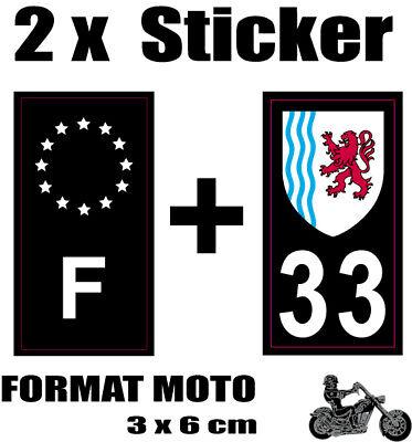 2 Stickers Style Plaque Moto 3x6 Cm Black F étoiles Blanches + Département 33 Harmonieuze Kleuren