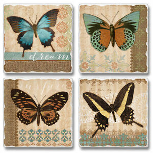 Mixed-Absorbent-Tumbled-Stone-Coasters-Set-of-4-Butterflies-amp-Burlap-Butterfly