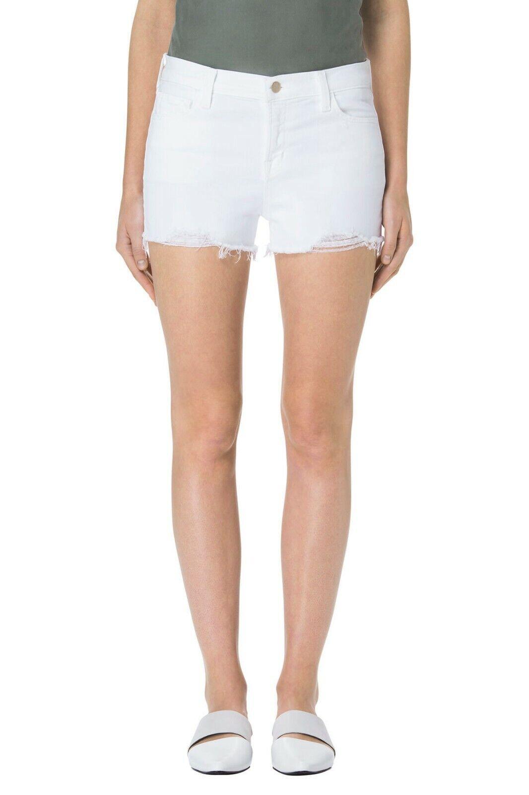 NWT J Brand 1044 Mid-Rise Shorts w. Raw Hem, Razed white (White) Size 26