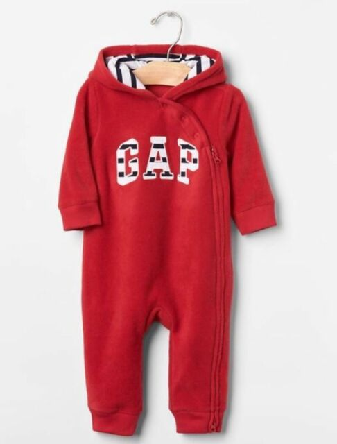 GAP Baby Boys Size 6-12 Months NWT Red Arch Logo Fleece Hoodie One-Piece Bunting