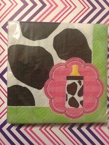 Moo-La-La-Baby-Girl-Cow-Bottle-Beverage-Pink-Napkins-3-ply-16ct-Shower