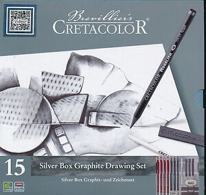 Brevillier-039-s-Cretacolor-15-piece-Silver-Box-Graphite-Drawing-Set-NEW