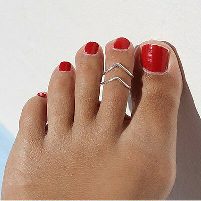 1pc New Celebrity Fashion Simple Style Silver Tone Toe Ring Foot Beach Jewelry