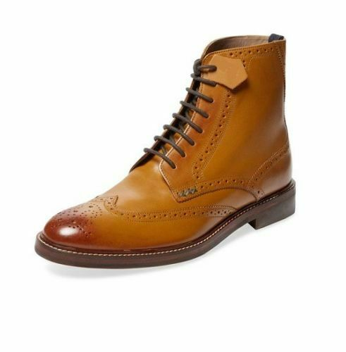 Mens Handmade Boots Tan Leather Wing Tip Brogue Formal Wear Casual shoes US 6-16
