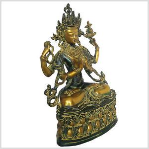 Avalokiteshvara Tara Buddha 36 cm 3,8 Kilo Messing Nepal Chenrezig Chen Rezig