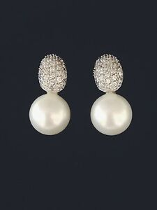 925-Sterling-Silver-Domed-CZ-Pave-amp-White-Pearl-Drop-Stud-Earrings-RRP-108