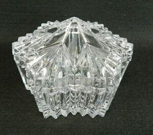 Vintage-Clear-Cut-Glass-Candy-Dish-Star-Shaped-Lidded-Bowl-Trinket-Box-5-1-4-034-W