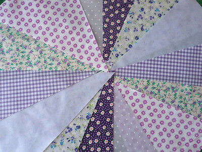 40ft Carnival Fabric Bunting Wedding Shabby Handmade flower Garden Party Multi