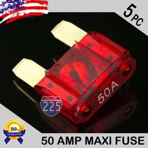 5 Pack 50A AMP Gold Large Blade Style Audio Maxi Fuse Car 12V 24V 32V Auto RV US