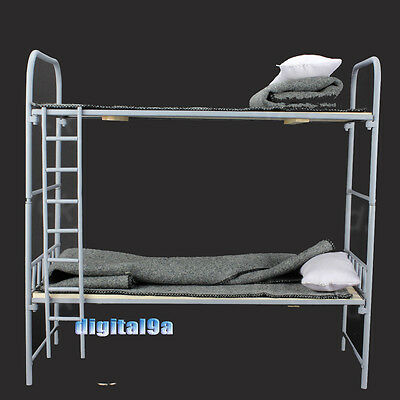"""Toy Model WWII German 1/6 Scale Metal & Wooden Bunk Bed Set For 12"""" Figure"""