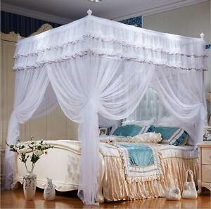 White 4 Corner Post Bed Curtain Canopy Mosquito Netting Twin Full Queen King