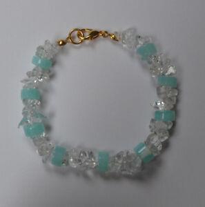 Amazonit-und-Bergkristall-Splitter-Armband-Edelstein-Armband