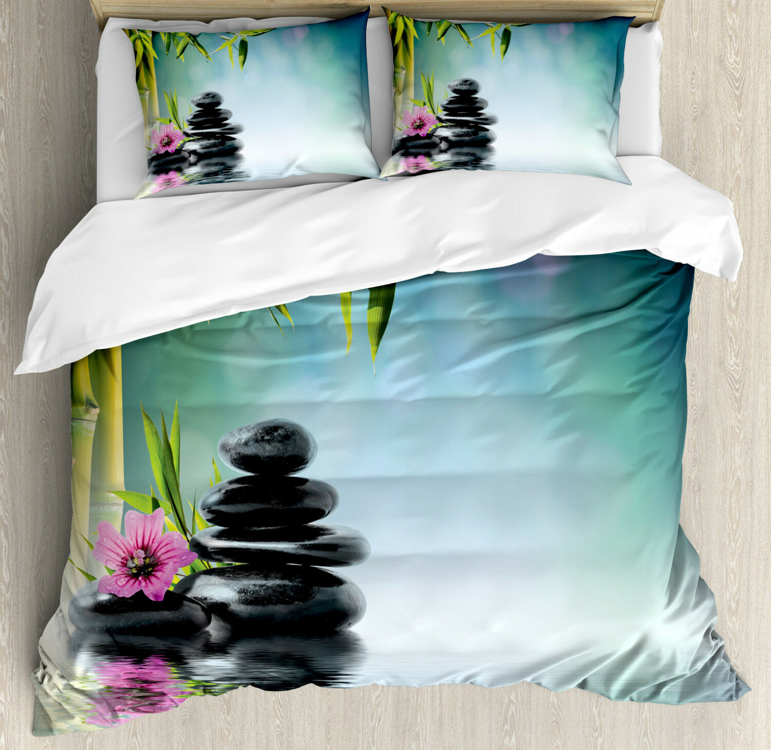 Spa Duvet Cover Set with Pillow Shams Hibiscus Bamboo on Water Print