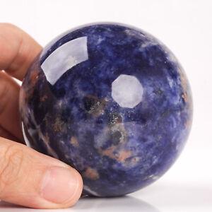 410g 68mm Natural Blue Sodalite Quartz Crystal Sphere Healing Ball Chakra Decor