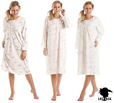 Donna a Maniche Lunghe in Policotone Camicia Da Notte Camicia da Notte Nightwear