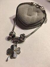 Retro Tibetan Silver Clover Charm Bracelet Snake Chain Bangle With Beads-B501