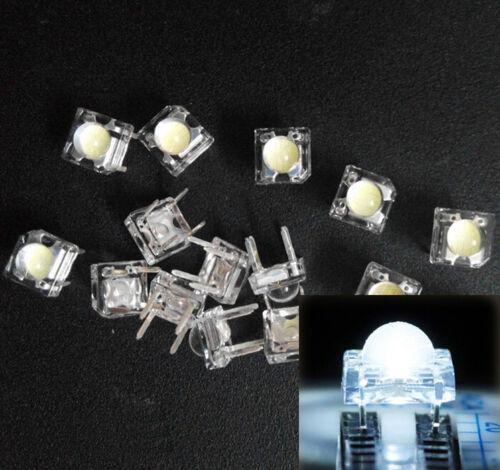 10Pcs 5mm F5 Piranha LED White Round Head Super Bright Light Emitting Diode New