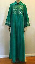 VTG BOHO INDIAN Silk MIRROR Embroidery Emerald Green HIPPIE Caftan Maxi Dress OS