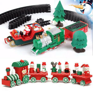 Christmas-Musical-Light-Train-Trees-Box-Set-Carriage-Kid-Gift-Toy-Ornament-Decor