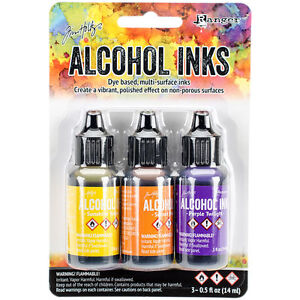 Tim Holtz Alcohol Ink .5oz 3/Pkg Summit View-Sunshine/Sunset/Pure Twilgh NEW #8
